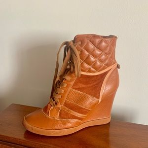 CHLOE Wedge Heels, Brown Leather Boots, Size 7